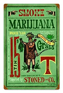 Smoke Marijuana Humor Vintage Metal Sign - Victory Vintage Signs