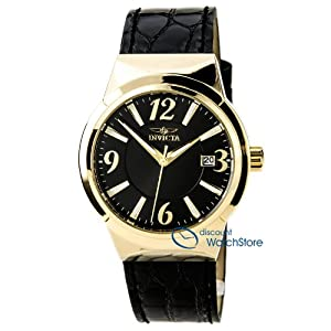 Invicta 15410 Women's Angel Black Dial Gold Tone Steel Black Leather Strap Watch