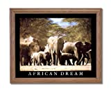 African Dream Elephant Herd Animal Wildlife Home Decor Wall Picture Oak Framed Art Print