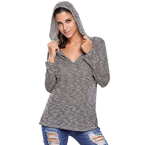 SextyHome Lady Hooded V-neck Long-sleeve Loose Knitted T-shirt Clothes(Grey)