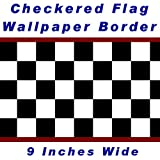 Checkered Flag Cars Nascar Wallpaper Border-9 Inch (Red Edge)