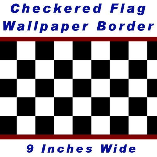Checkered Flag Cars Nascar Wallpaper Border-9 Inch (Red Edge)