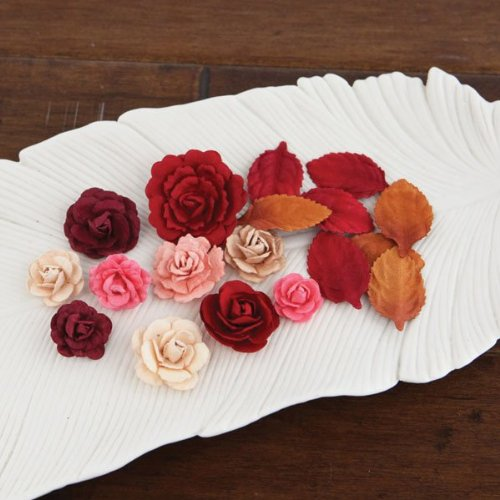 Prima Flowers LARA-57683 Laraine Handmade Paper Flowers and Leaves .75 in. To 1.5 in. 12 Each-Candy Apple