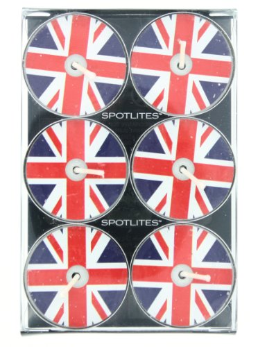 Union Jack British Flag Tealight Candles 6 Pack