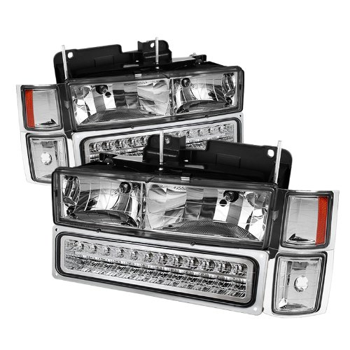 Chevy C/k Series 1500/2500/3500 / Chevy Tahoe /C/k Series 1500/2500/3500 / Chevy Silverado / Chevy Suburban / Chevy Suburban Crystal Headlights w/ Corner & Bumper Chrome Housing with Clear Lens (1997 Chevy Silverado 1500 Led compare prices)
