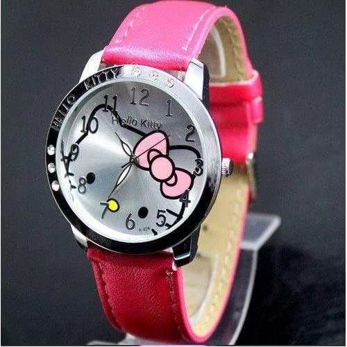 Brand New Hello Kitty Large Face Quartz Watch, Hot Pink Band & Hello Kitty Pouch + Extra Battery