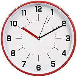 HITO 12 Inches Silent Non-ticking Wall Clock w/ Metal Frame and Acrylic Front Cover (Red)