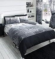 York City Skyline - Black & Grey Printed Duvet Cover Bed Set