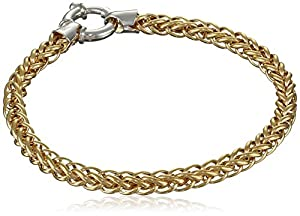 """Bonded Sterling Silver and 14k Two-Tone Spiga Chain Bracelet, 7.5"""""""