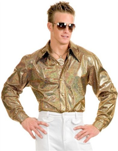 Men's 70s Metallic Gold Nailhead Disco Shirt