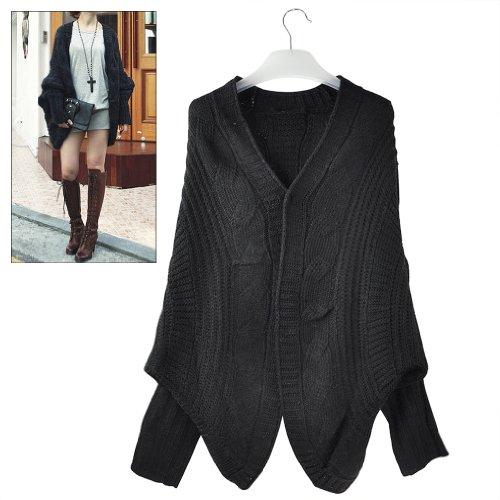 Gleader Maglione di lana Casual Top lavorato a maglia cardigan del pipstrello Outwear allentato -nero