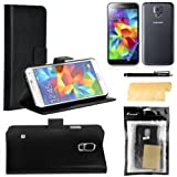 Foxnovo 4-in-1 Crazy Horse Pattern PU Wallet Card Holder Flip Case Cover Stand Set for Samsung Galaxy S5 /i9600 (Black)