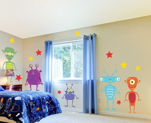 "Oopsy Daisy Aliens Among Us Peel and Place, Purple/Red, 54"" x 60"""