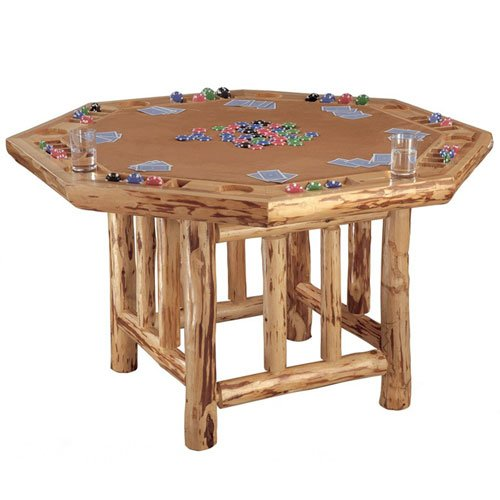 Rush Creek Log Cabin Style Octagon Poker Table