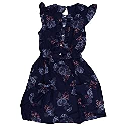 Buttercups Girls' 5 years Cotton Dress (CFL07D, Navy, 25 inches)