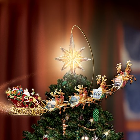 Thomas Kinkade Holidays in Motion Rotating Lighted Tree Topper Santa Sleigh & Reindeer Animated Christmas Decor