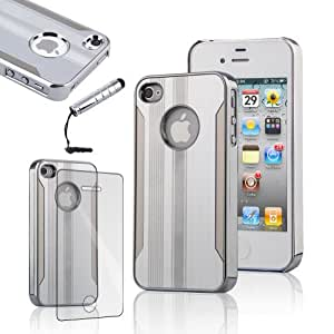 Luxury Steel Aluminum Chrome Hard Back Case Cover +LCD Screen Protector+Stylus for iPhone 4 iPhone 4S - Silver