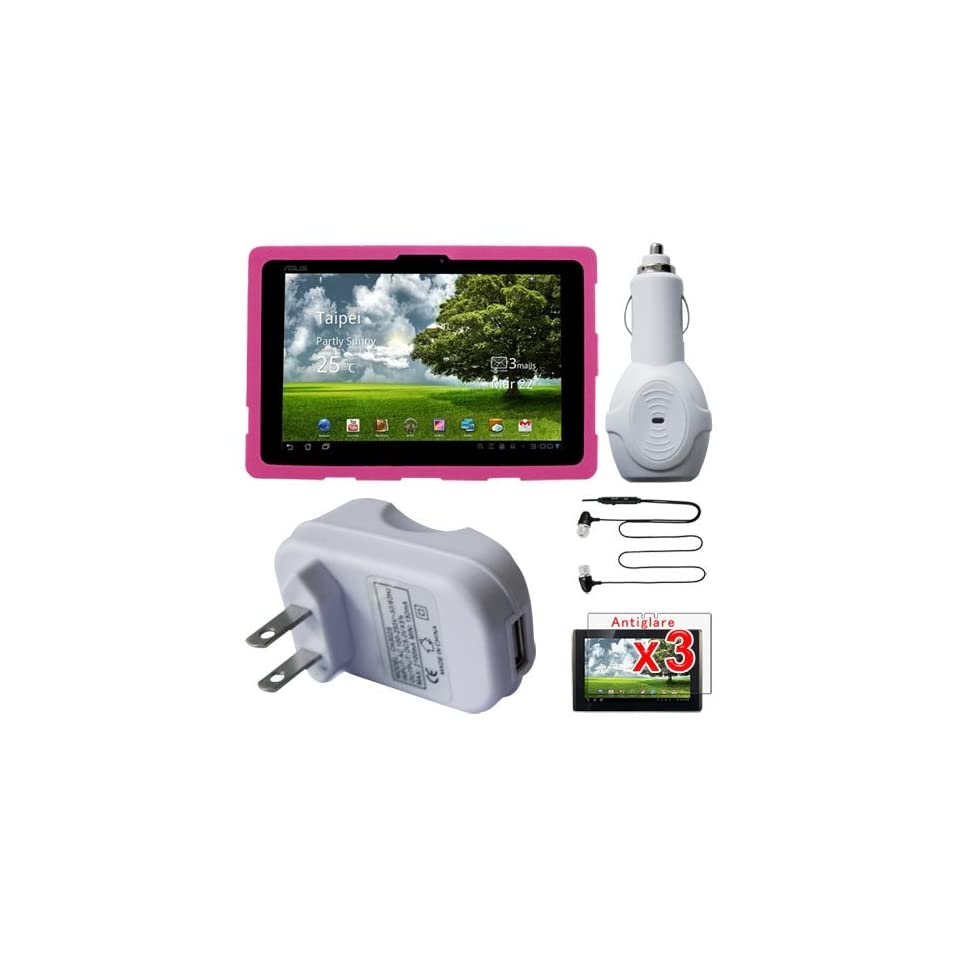 Premium 3 Packs of Anti Glare Screen Protector + Pink Silicone Cover Case + Black Eaphone with mic + Wall Travel Charger + Car Charger for ASUS Eee Pad Transform 101 Tablet