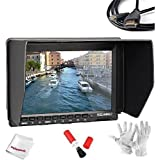 Feelworld 7 Inch Ultra HD 1280x800 IPS Screen Camera Field Monitor with 1 Mini HDMI Cable for BMPCC, 16:9 or 4:3 Adjustable Display Ratio