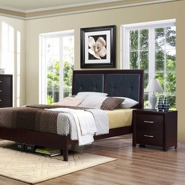 Homelegance Edina 2 Piece Upholstered Headboard Platform Bedroom Set in Espresso Cherry