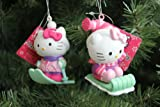 Hello Kitty Skiing/Sledding Christmas Ornaments