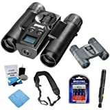 Bushnell 111026 ImageView 10x25 Roof Prism Binocular w/ VGA Digital Camera + Folding Prism Binocular + Charger w/ 4pcs AA Batteries + Accessory Kit