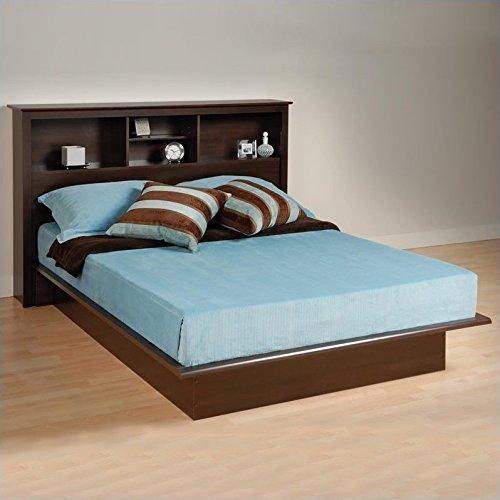 Prepac Manhattan Queen Bookcase Platform Bed in Espresso Finish