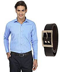 FOCIL Sky Blue Formal shirt & Belt for Mem