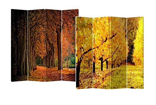 Roundhill Furniture 4-Panel Double Sided Painted Canvas Room Divider Screen, Fall Street, 17 x 71