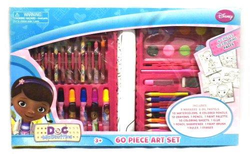 Disney Junior Doc Mcstuffins 60 Pc Art Kit Set In Carrying Case - Pencils, Markers, Crayons, Watercolor Paints, Etc