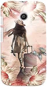 PRINTVISA Travel Girl Colorful Case Cover for Motorola Moto E (Multicolour)