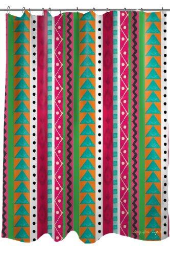 Thumbprintz Fabric Shower Curtain, Striped Boho Medallion front-481361