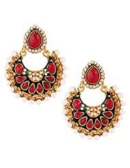 The Jewelbox Chaand Bali 22 K Gold Plated Maroon Green Pearl Stud Earring For Women