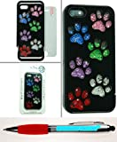 Accessory Factory(TM) Bundle (the item, 2in1 Stylus Point Pen) Diamond Motion Case for iPhone 5 5S Rainbow Paw on Black Stylish Full Bling Design Snap On Hard Protector Cover Faceplate Shell