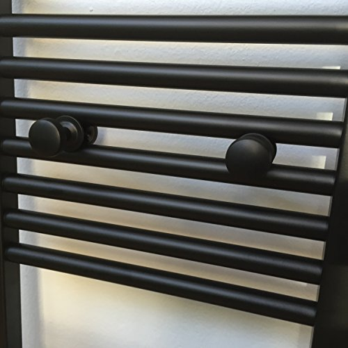 Set of 2 Black Towel Rails for Bathroom Radiators for Dressing Gowns and Towels by Hergestellt für FistConcept (Towel Hook Radiator compare prices)
