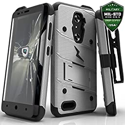 ZTE Grand X Max 2 Imperial Max Z963U Zmax Pro Case, Zizo Bolt Cover [.3m Tempered Glass Screen Protector] [Military Grade] Armor Kickstand Belt Clip