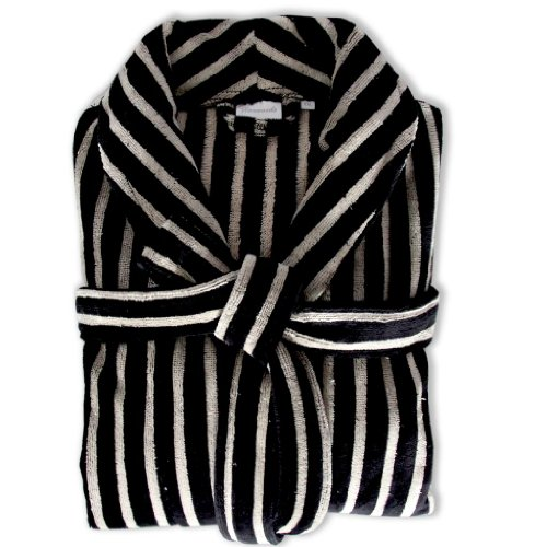 Homescapes One Size Men's Velour Bathrobe with Shawl Collar Black Creme Stripes, 100% Cotton Dressing Gown