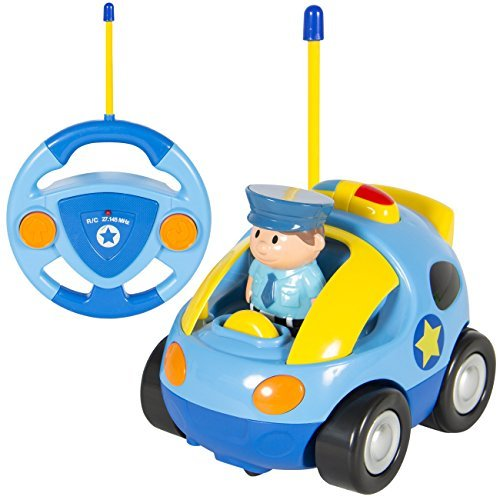 NEW 2 Channel Beginners Kids Remote Control Cartoon Police Car Perfect Gift (Cartoon Police Hat)