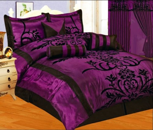 Black and Purple Bedding