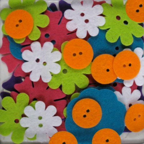 Favorite Findings 48-Piece Big Bag of Felt Buttons, Bright Blossoms