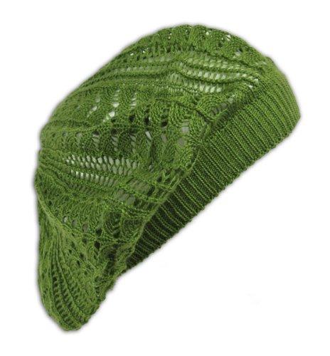 Womens Fashion Crochet Beanie Hat Knit Beret Skull Cap Tam (Olive)