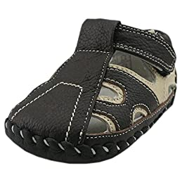 Orgrimmar Baby Boys Girls First Walkers Soft Sole Leather Baby Shoes (Size L, B1 Coffee)