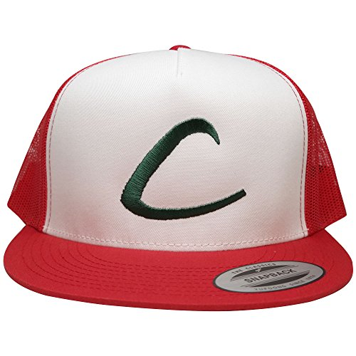 FLEXFIT Pokemon Trainer Ash Ketchum Embroidered Classic Trucker Mesh Snapback Cap - Red White (Red Pokemon Hat compare prices)