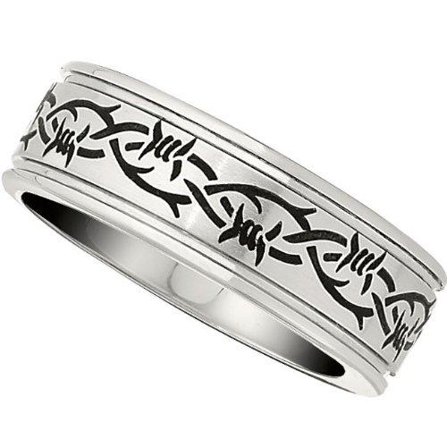 Cobalt Chrome, Laser Engraved Barbed Wire Design Wedding Band (sz 9)