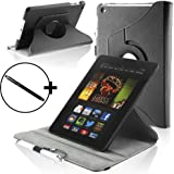 Forefront Cases Leather Rotating Cover/Stand Case with Magnetic Auto Sleep Wake Function and Stylus Pen for 7 inch Amazon Kindle Fire HD 2013 - Black