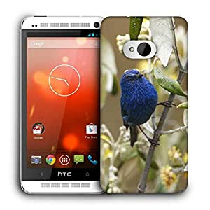 Snoogg Blue Sparrow Printed Protective Phone Back Case Cover For HTC One M7