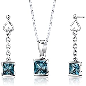 London Blue Topaz Pendant Earrings Necklace Sterling Silver Rhodium Nickel Finish Dangle Princess Shape