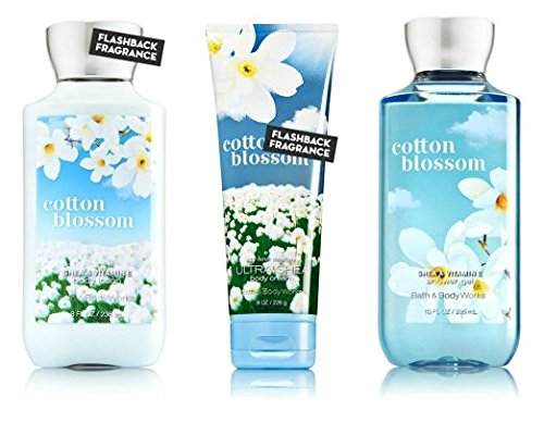 Bath & Body Works Cotton Blossom Body Cream, Shower Gel and Body Lotion Gift Set Bath Beauty Set