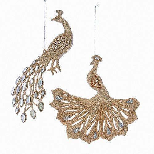 Kurt Adler 1 Set 2 Assorted 3 Inch Peacock Christmas Ornaments