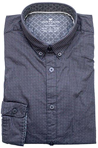 TOM TAILOR -  Camicia Casual  - Camicia  - Con bottoni  - Maniche lunghe - Uomo schwarz (almost black 2975) S